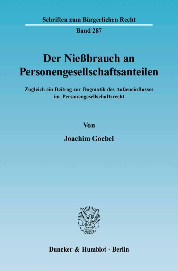 Cover Der Nießbrauch an Personengesellschaftsanteilen