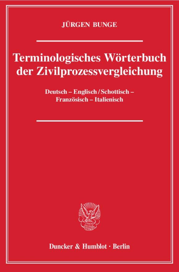 Cover Terminologisches Wörterbuch der Zivilprozessvergleichung