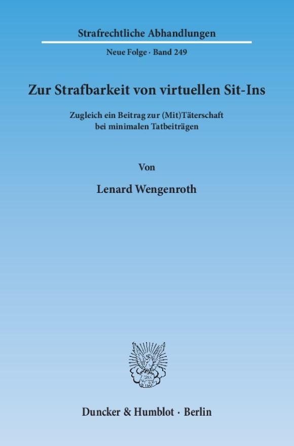 Cover Zur Strafbarkeit von virtuellen Sit-Ins