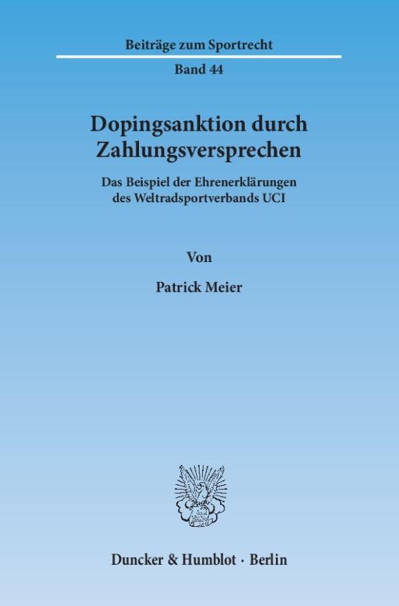 Cover Dopingsanktion durch Zahlungsversprechen