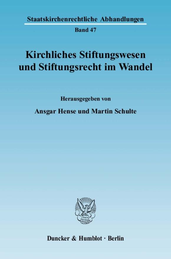 Cover Kirchliches Stiftungswesen und Stiftungsrecht im Wandel