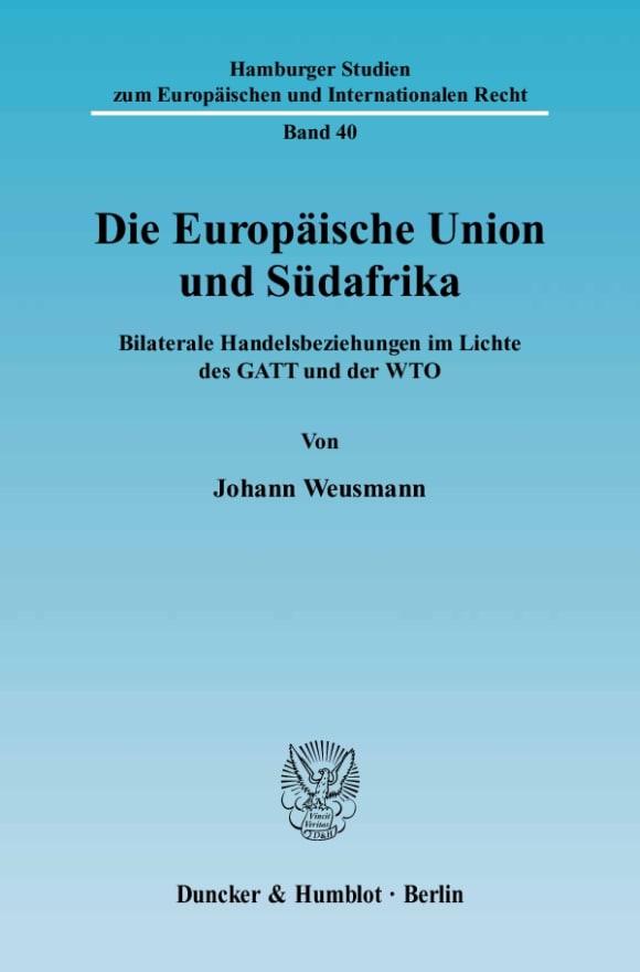 Cover Die Europäische Union und Südafrika