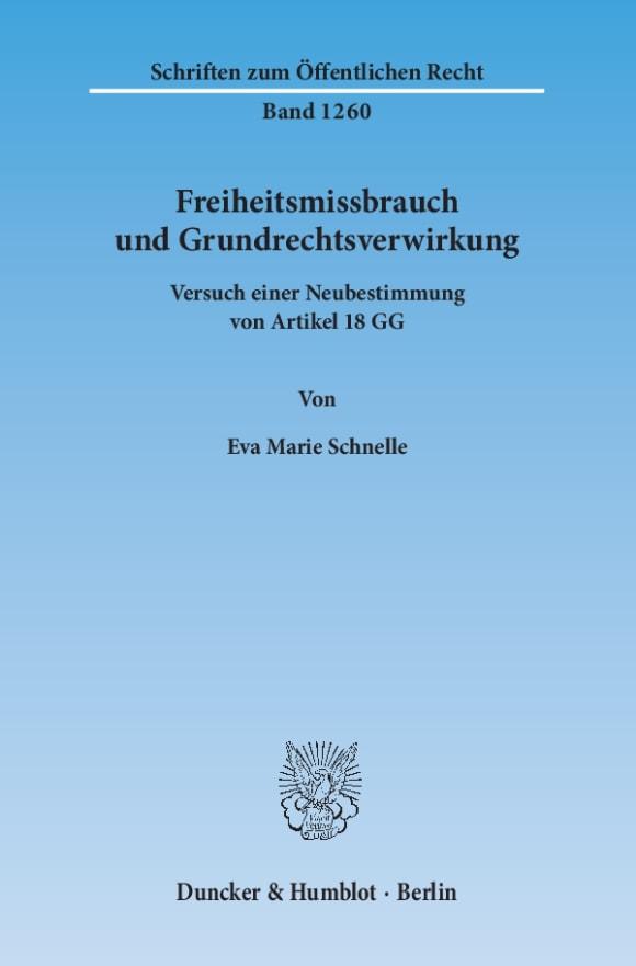 Cover Freiheitsmissbrauch und Grundrechtsverwirkung