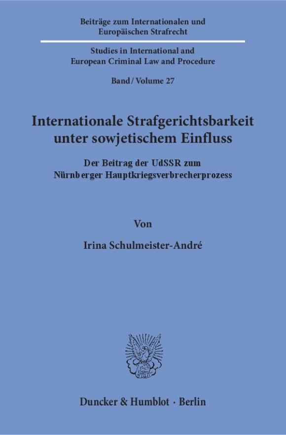 Cover Internationale Strafgerichtsbarkeit unter sowjetischem Einfluss
