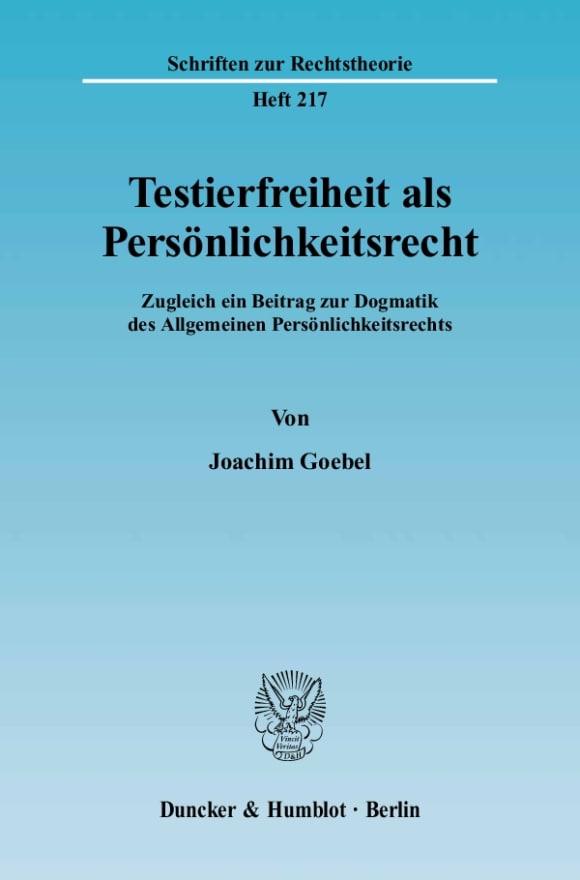 Cover Testierfreiheit als Persönlichkeitsrecht