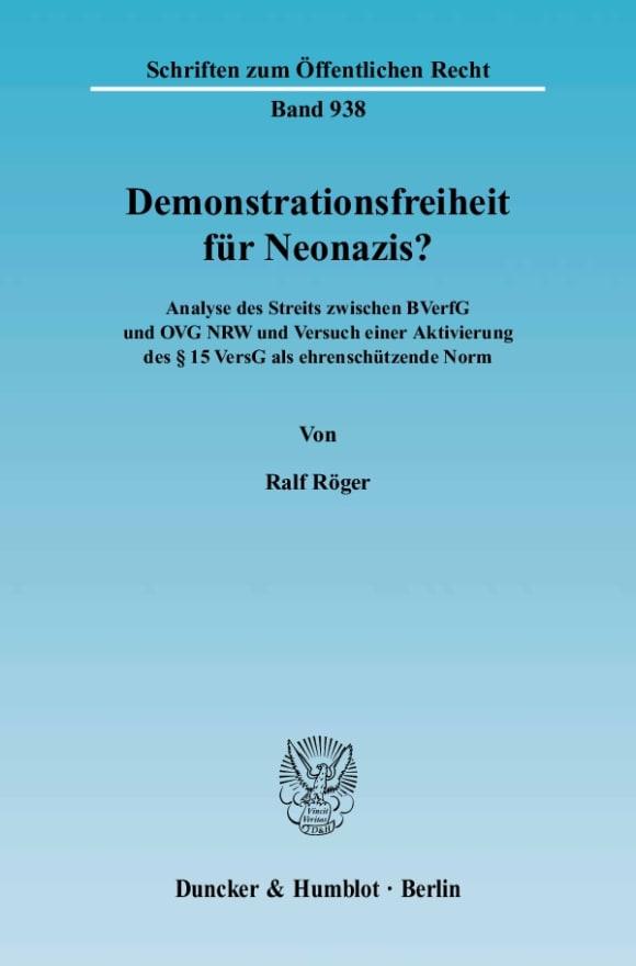Cover Demonstrationsfreiheit für Neonazis?