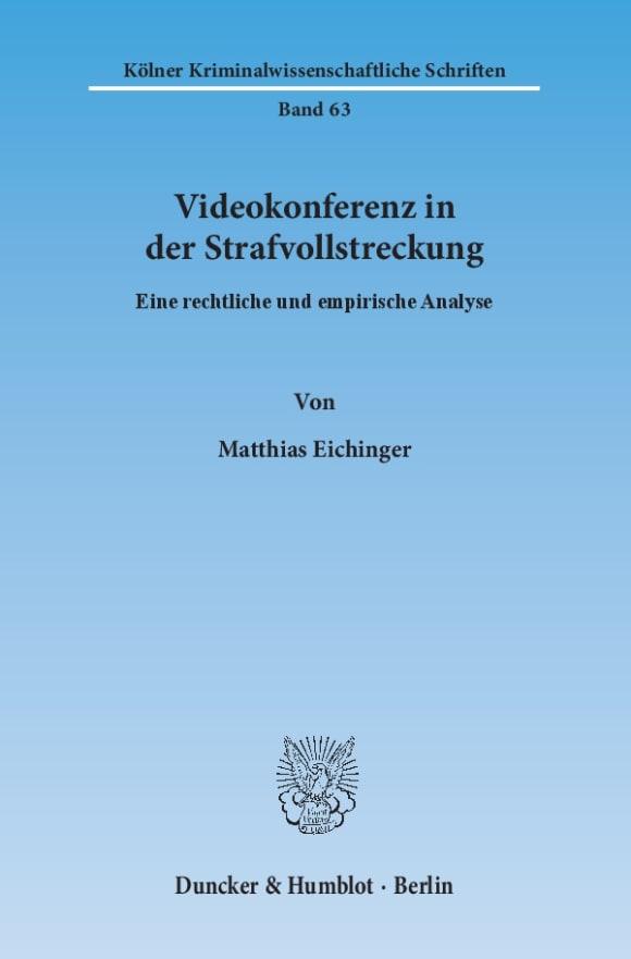 Cover Videokonferenz in der Strafvollstreckung