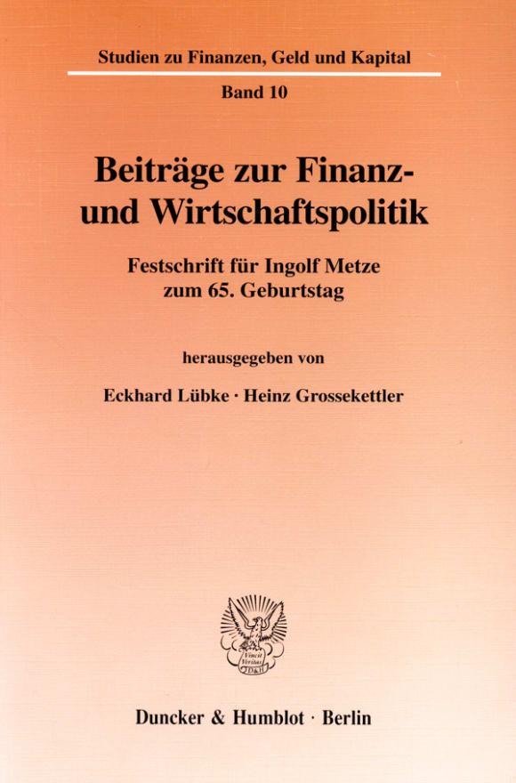 Cover Beiträge zur Finanz- und Wirtschaftspolitik