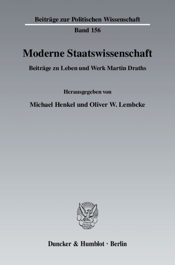 Cover Moderne Staatswissenschaft