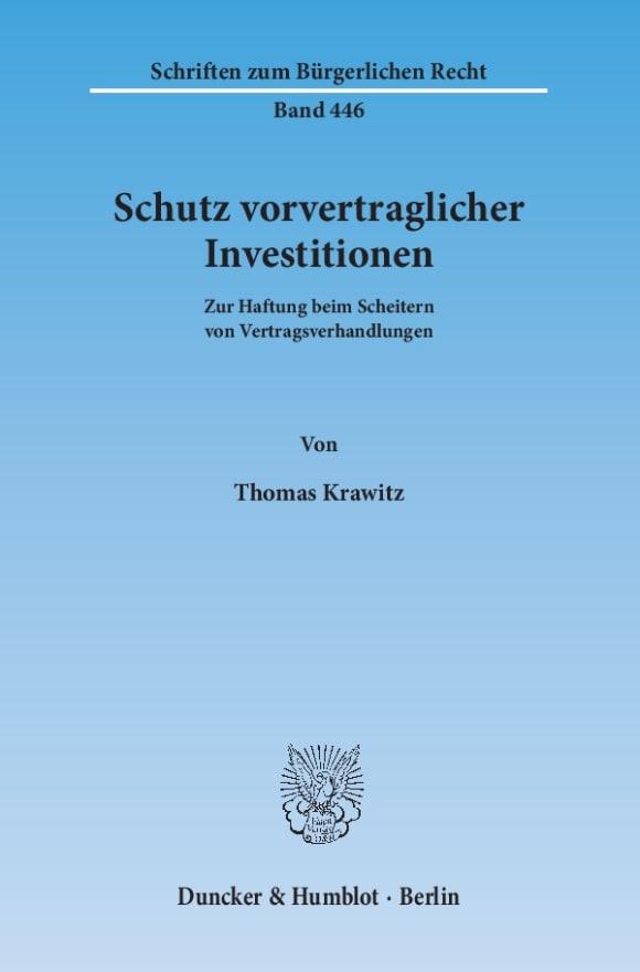 Cover Schutz vorvertraglicher Investitionen