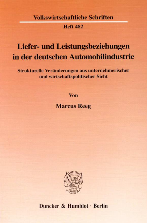 Cover Liefer- und Leistungsbeziehungen in der deutschen Automobilindustrie