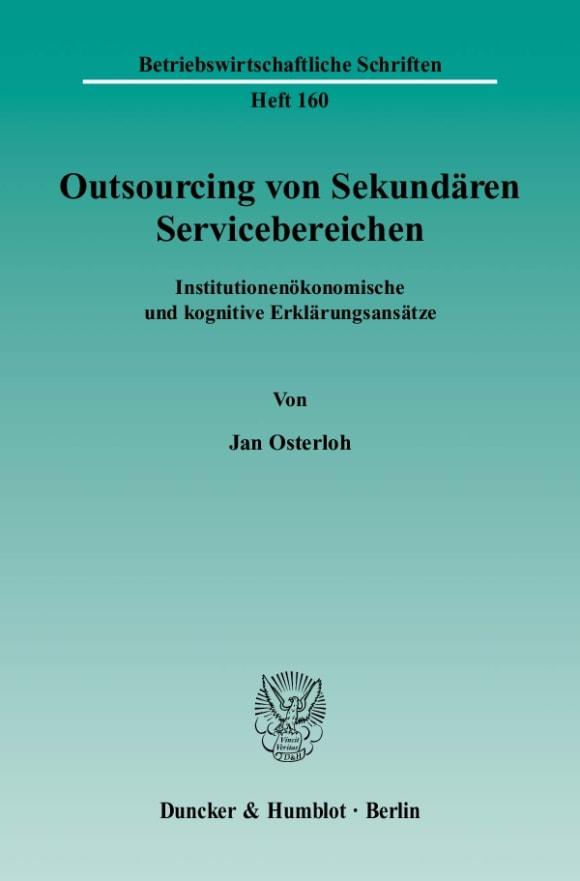Cover Outsourcing von Sekundären Servicebereichen