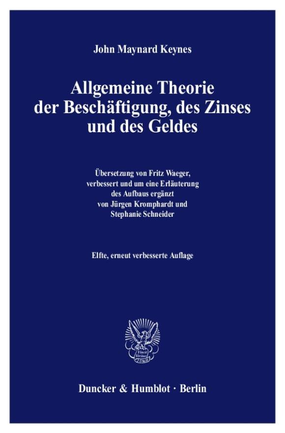 Cover Allgemeine Theorie der Beschäftigung, des Zinses und des Geldes