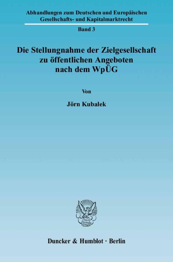 Cover Die Stellungnahme der Zielgesellschaft zu öffentlichen Angeboten nach dem WpÜG