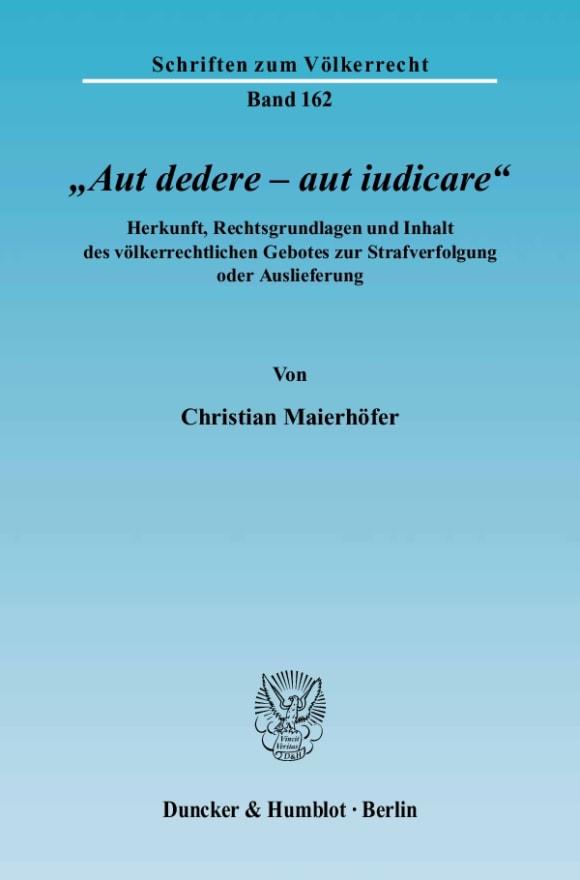 Cover »Aut dedere – aut iudicare«