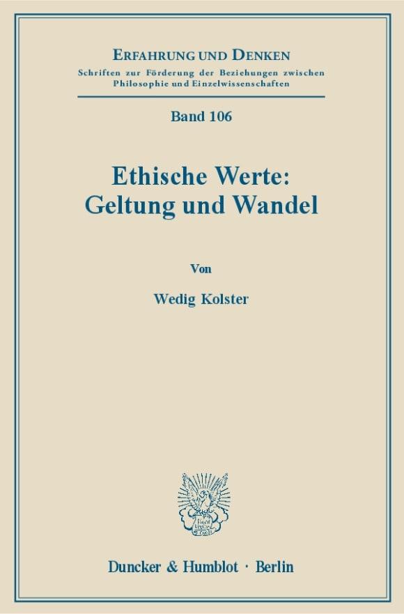 Cover Ethische Werte: Geltung und Wandel