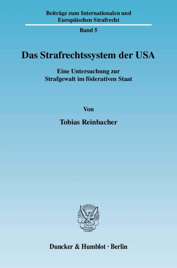 Cover Das Strafrechtssystem der USA