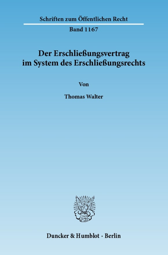 Cover Der Erschließungsvertrag im System des Erschließungsrechts