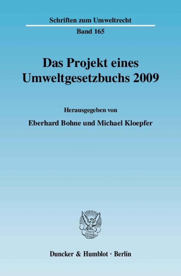 Cover Das Projekt eines Umweltgesetzbuchs 2009
