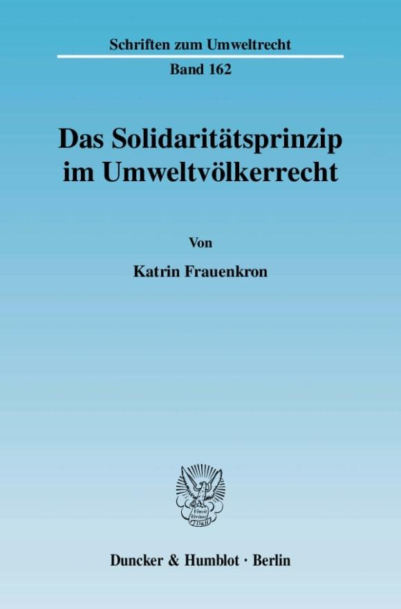 Cover Das Solidaritätsprinzip im Umweltvölkerrecht