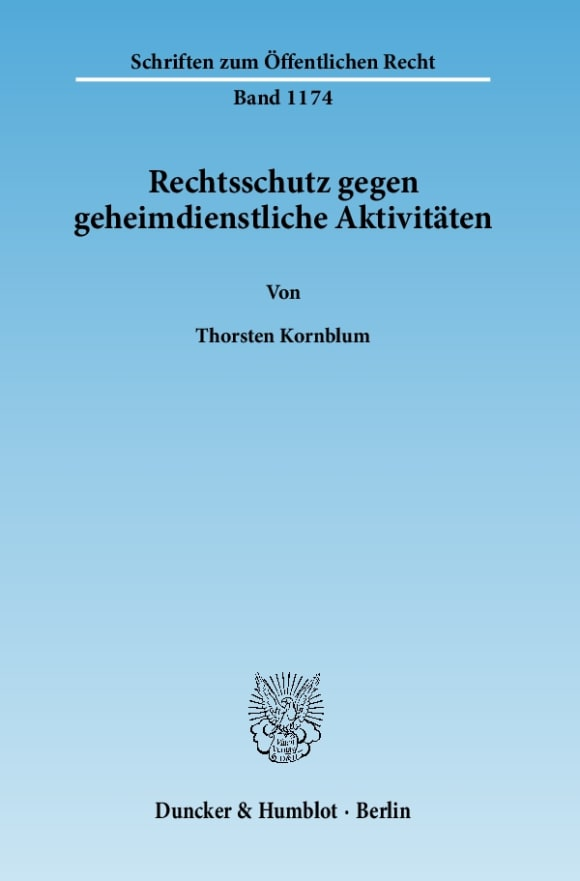 Cover Rechtsschutz gegen geheimdienstliche Aktivitäten