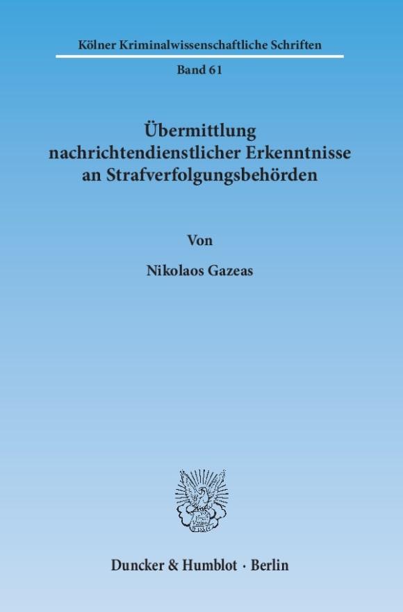 Cover Übermittlung nachrichtendienstlicher Erkenntnisse an Strafverfolgungsbehörden