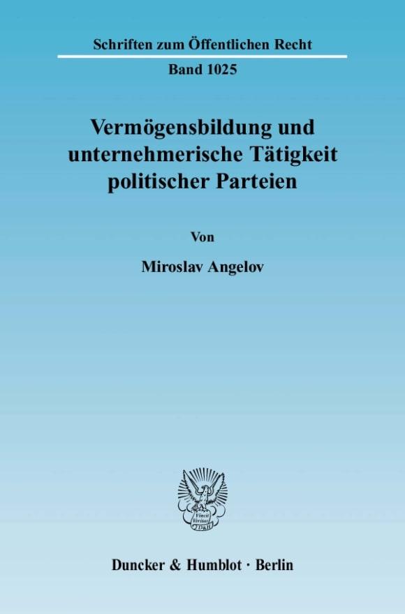 Cover Vermögensbildung und unternehmerische Tätigkeit politischer Parteien