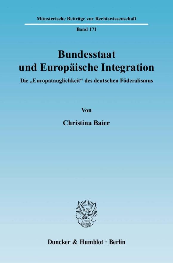 Cover Bundesstaat und Europäische Integration