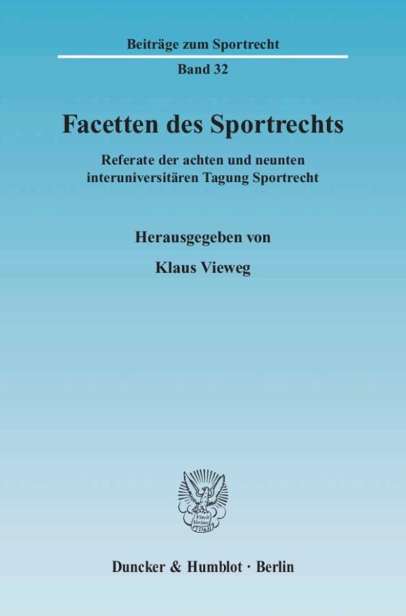 Cover Facetten des Sportrechts