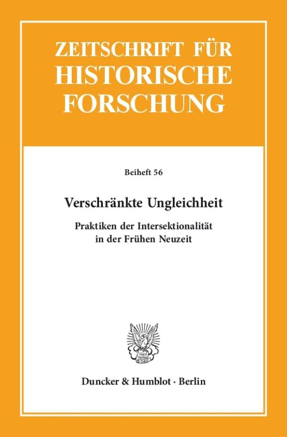 Cover Zeitschrift für Historische Forschung. Beihefte (BH ZHF)
