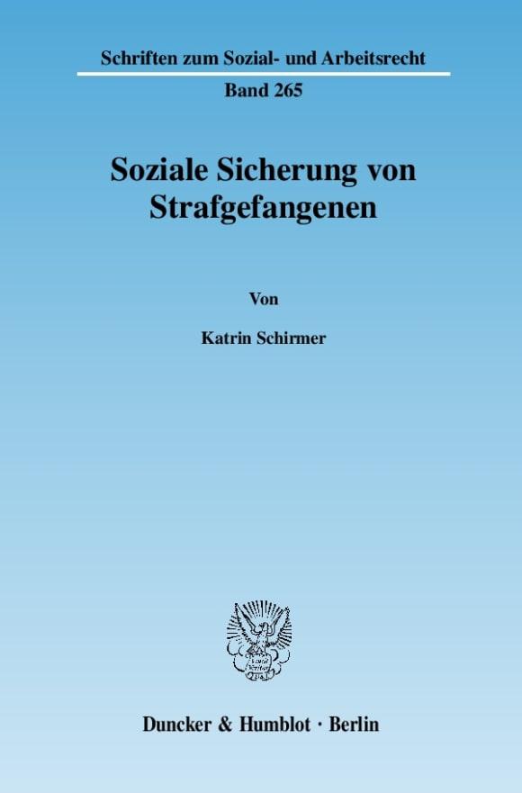 Cover Soziale Sicherung von Strafgefangenen