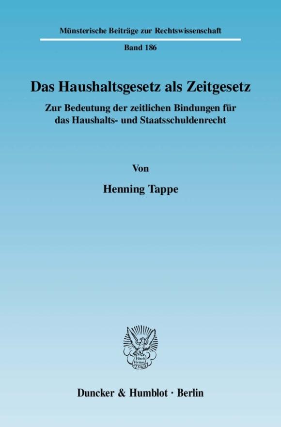 Cover Das Haushaltsgesetz als Zeitgesetz