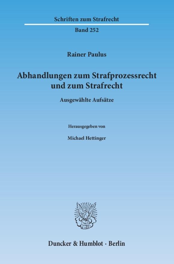 Cover Abhandlungen zum Strafprozessrecht und zum Strafrecht