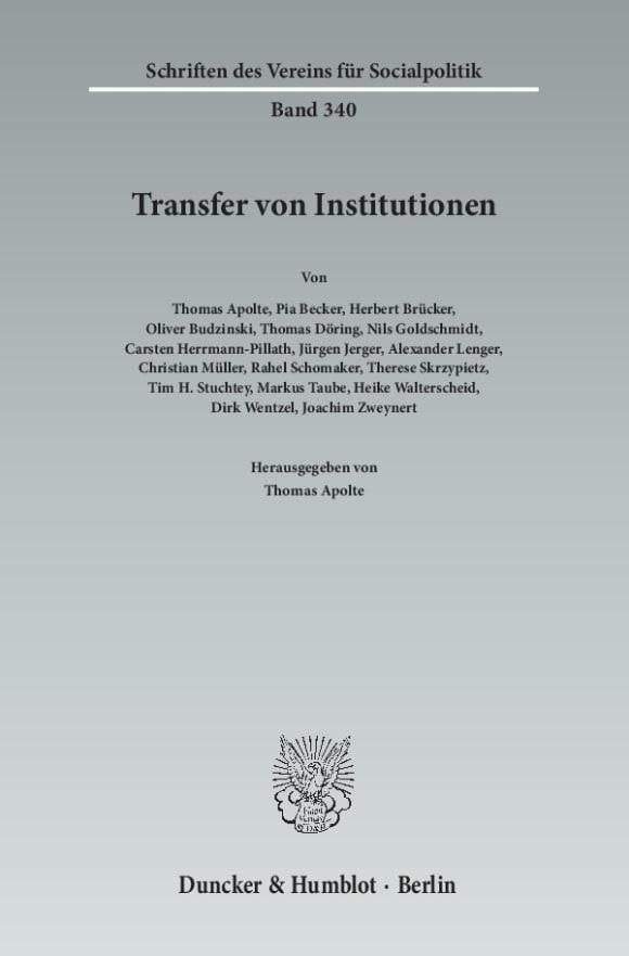 Cover Transfer von Institutionen