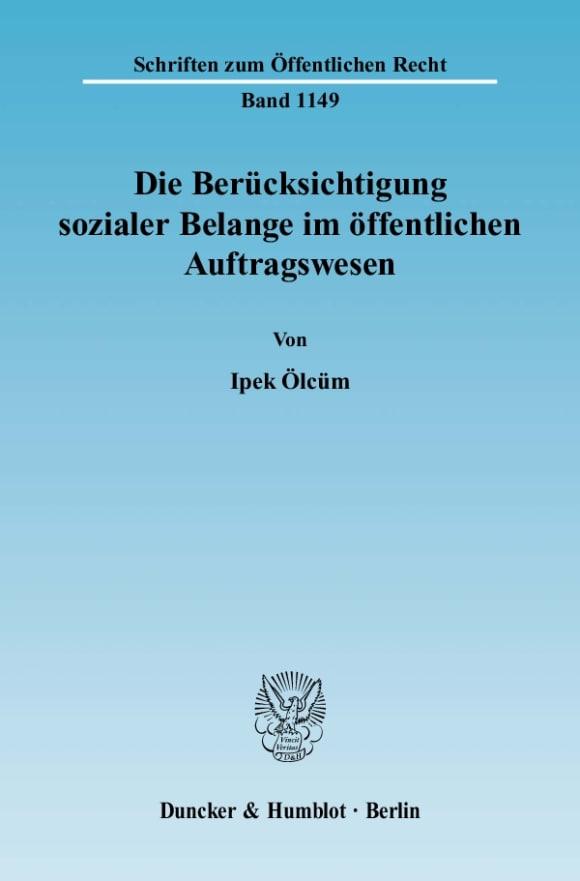 Cover Die Berücksichtigung sozialer Belange im öffentlichen Auftragswesen