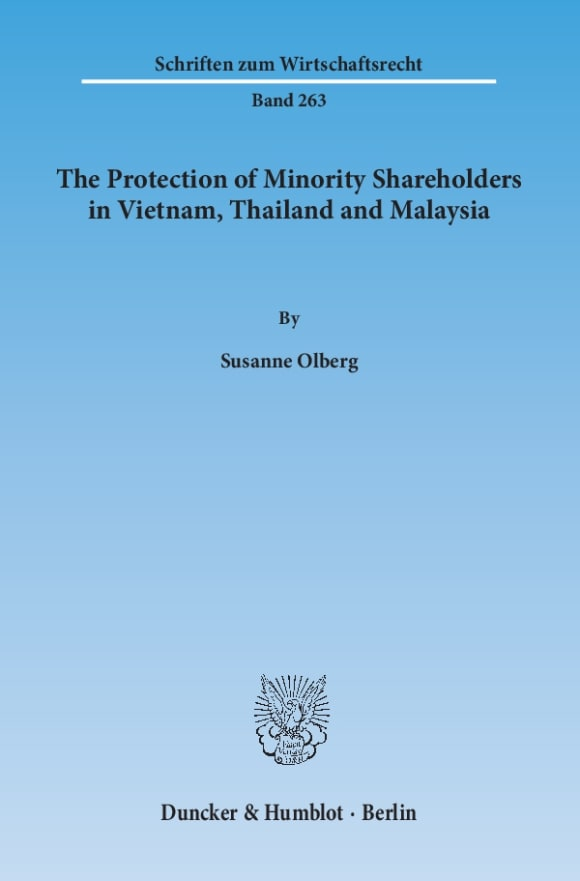 Cover The Protection of Minority Shareholders in Vietnam, Thailand and Malaysia