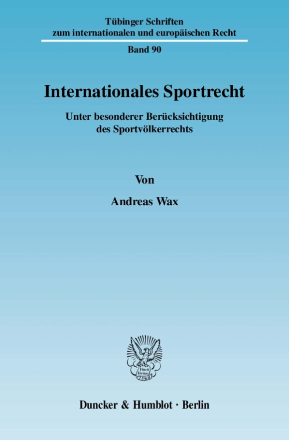 Cover Internationales Sportrecht