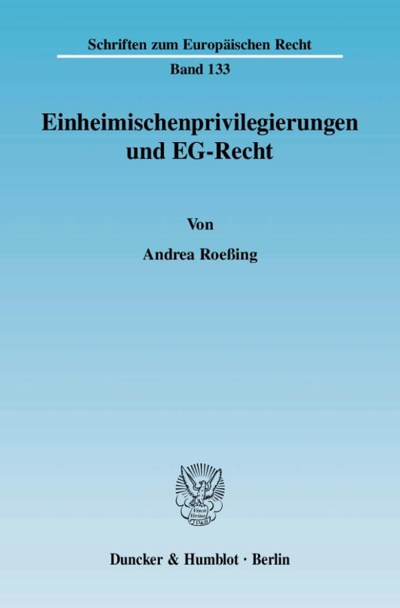 Cover Einheimischenprivilegierungen und EG-Recht