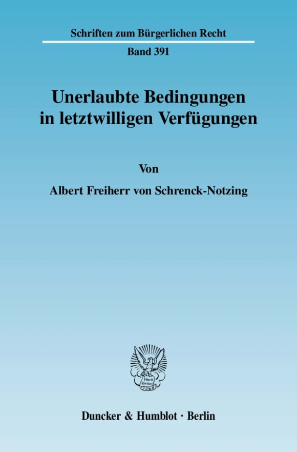 Cover Unerlaubte Bedingungen in letztwilligen Verfügungen