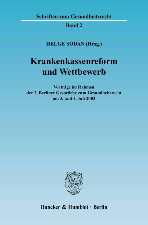 Cover Krankenkassenreform und Wettbewerb