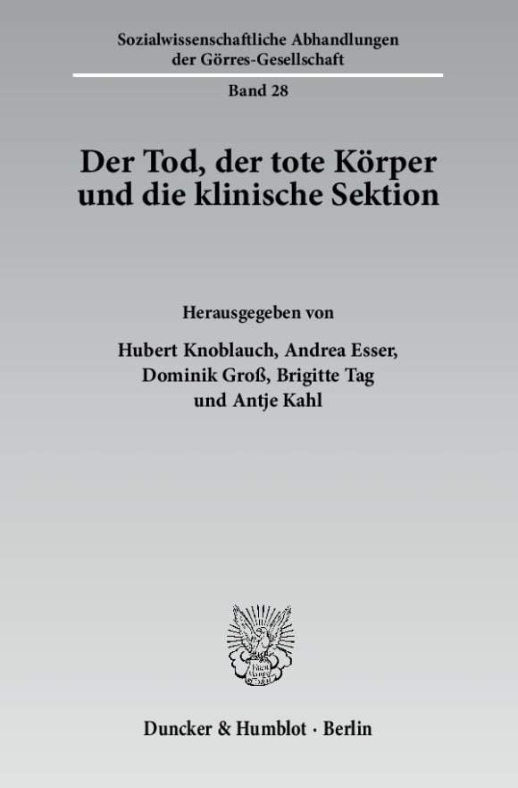 Cover Der Tod, der tote Körper und die klinische Sektion