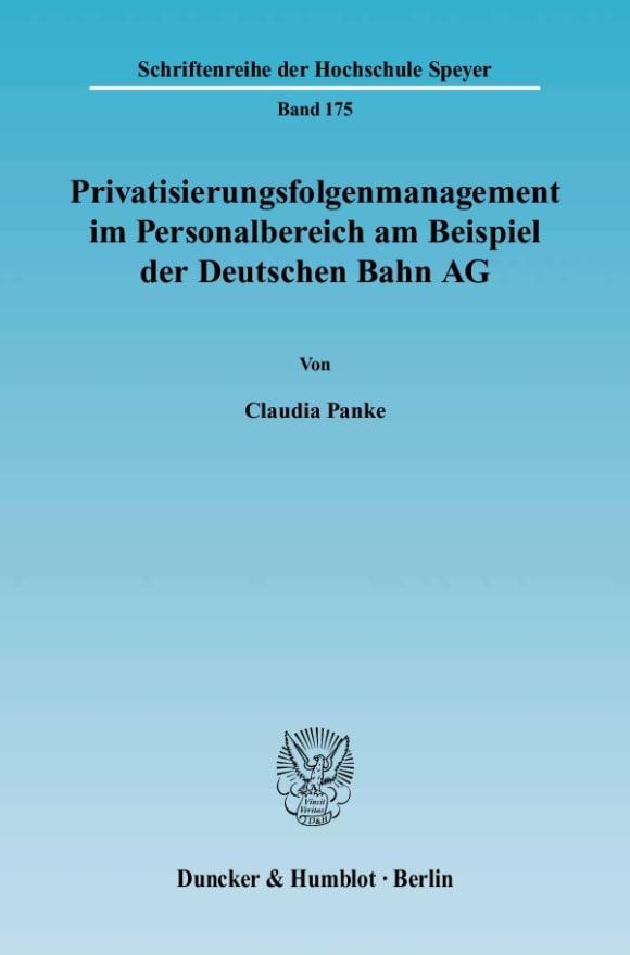 Cover Privatisierungsfolgenmanagement im Personalbereich am Beispiel der Deutschen Bahn AG