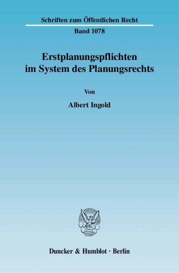 Cover Erstplanungspflichten im System des Planungsrechts