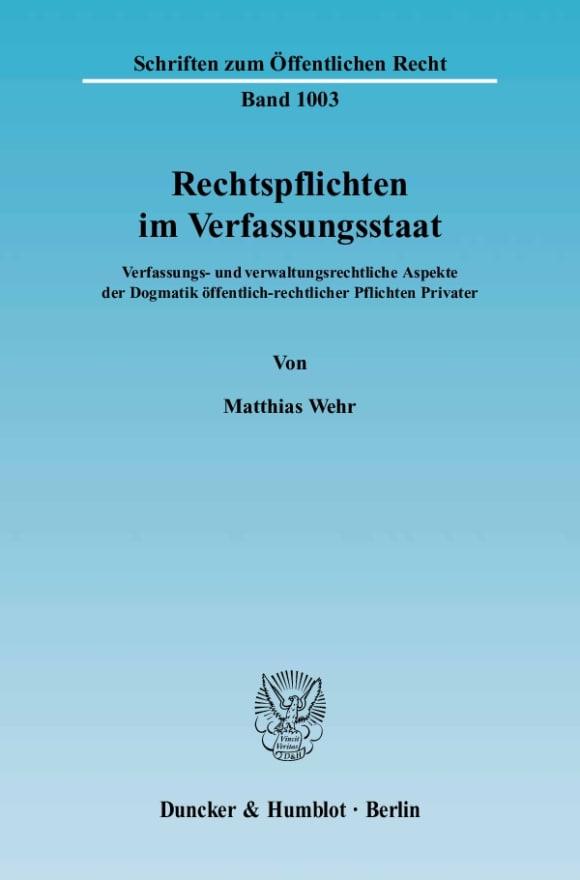 Cover Rechtspflichten im Verfassungsstaat