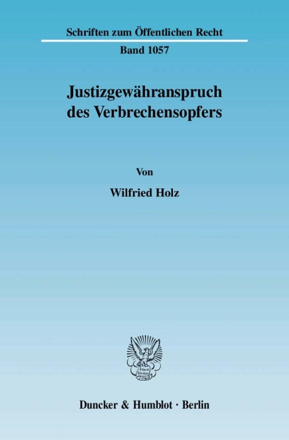 Cover Justizgewähranspruch des Verbrechensopfers