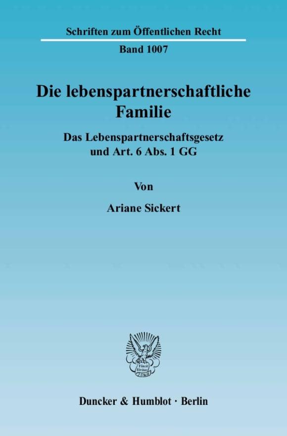 Cover Die lebenspartnerschaftliche Familie