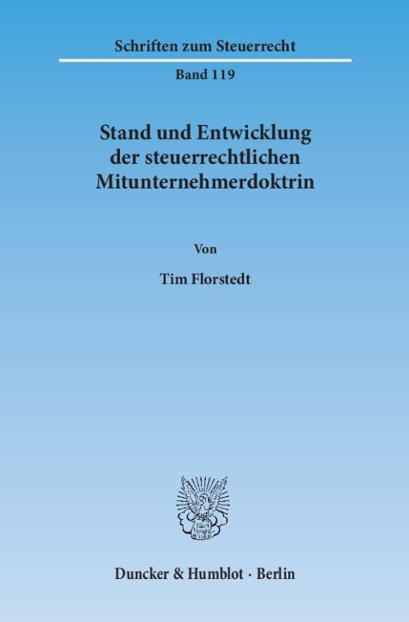 Cover Stand und Entwicklung der steuerrechtlichen Mitunternehmerdoktrin