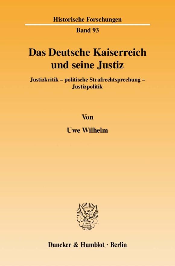 Cover Das Deutsche Kaiserreich und seine Justiz