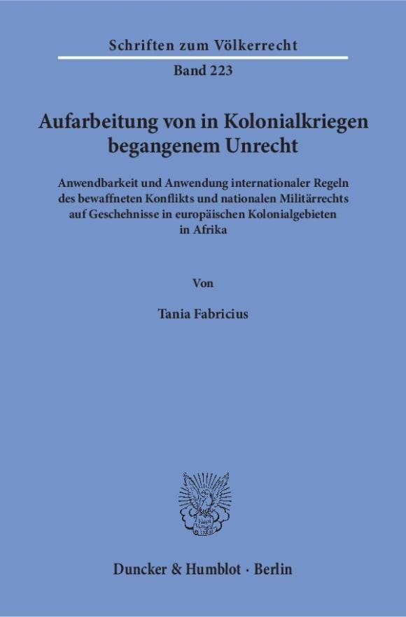 Cover Aufarbeitung von in Kolonialkriegen begangenem Unrecht