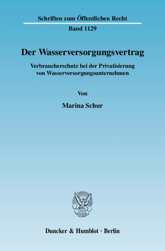 Cover Der Wasserversorgungsvertrag